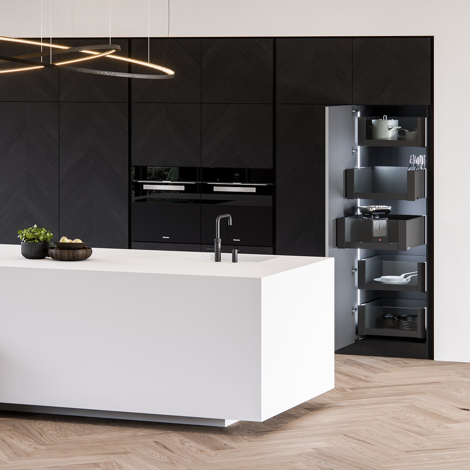 CGI 3D visualization interior, product, Clay kitchen, Miele oven