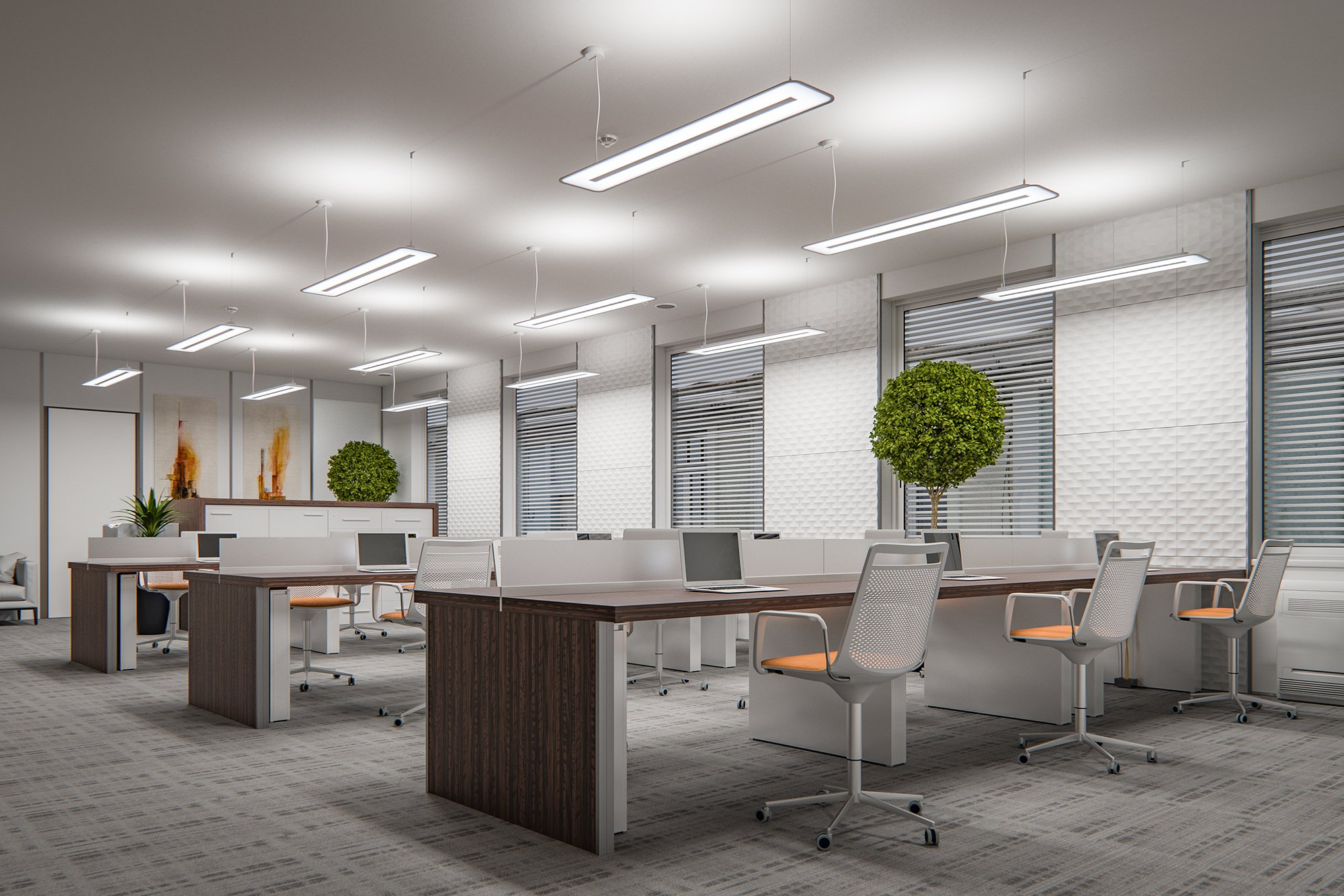CGI 3D visualization interior, product, PHILIPS office and industrial led light