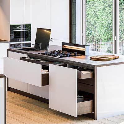 Kitchen 3d visualization, showcasing product double aye